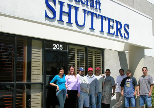 The Woodcraft Shutters team in front of our Oxnard, CA workshop