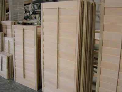 unpainted shutters in our Ventura County shop